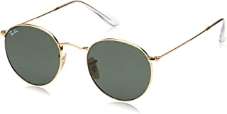 RAY-BAN RB3447N Round Flat Lenses Metal Sunglasses, Gold/Green, 50 mm