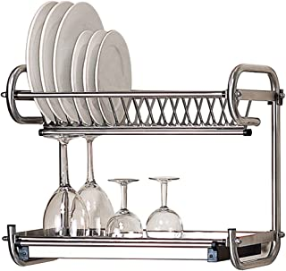 Kitchen Hardware Collection 2 Tier Dish Drying Rack Stainless Steel Wall Mounted Or Stand On Countertop Draining Rack 17.3 Inch Length 14 Dish Slots Organizer with Drainboard for Cup Plate Bowl