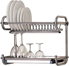 Kitchen Hardware Collection 2 Tier Dish Drying Rack Stainless Steel Wall Mounted Or Stand On Countertop Draining Rack 19.3 Inch Length 16 Dish Slots Organizer with Drainboard for Cup Plate Bowl