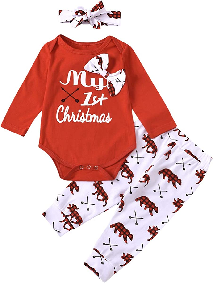 My First Christmas Arlington Mall Outfit Newborn Baby Sleeve Romp Girl Long Challenge the lowest price Boy