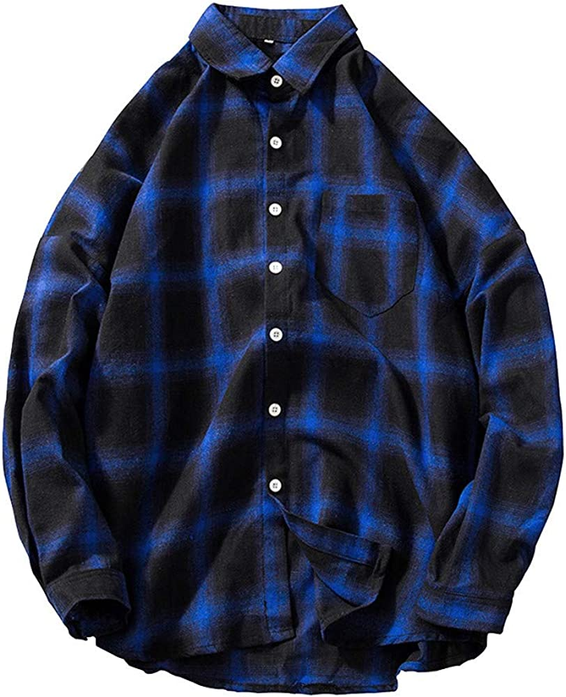 MODOQO Men's Long Sleeve Plaid Button Down Shirts with Pocket Casual Loose Fit Tops