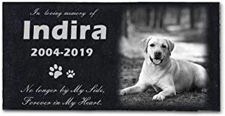 HMGYGS Pet Memorial Stone Personalized, Costom Pet's Photo, Name, Date, Missed Words, Pet Grave Marker,Pet headstones - 12''x6''