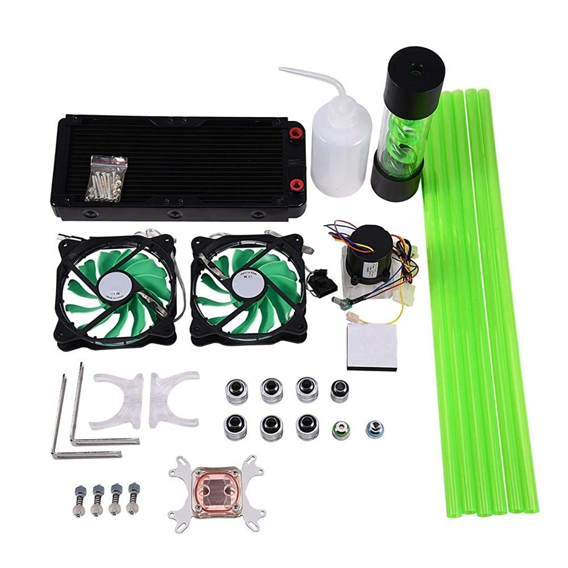 Computer Cooler,DIY 240mm Heat Sink CPU Water Block Pump Reservoir LED Fan Compputer Water Cooling Kit, Waterproof and Stable and Lower Noise
