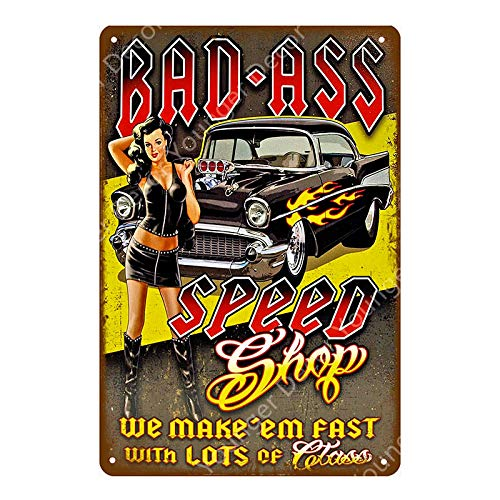Hot Rod Garage Decor Vintage Metal Tin Signs Classic Car Motor Battery Tools Wall Art Plate Shabby Chic Painting Plaque 20x30cm YD5268G