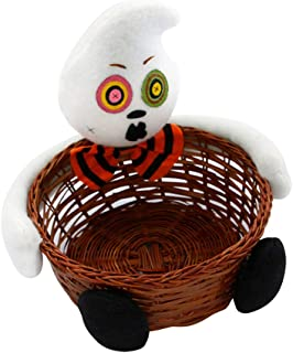 Sobotoo Halloween Candy Basket Sweets Storage Box Trick Treat Toy Doll Fruit Decoration Bowl Tabletop Ornament Party Supplies  D