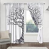Sophia-Art - Juego de cortinas para ventana de balcón, árbol de la vida, decoración de habitación, cortina y tapiz, cenefa de dormitorio Boho Hippie (blanco Banjar)