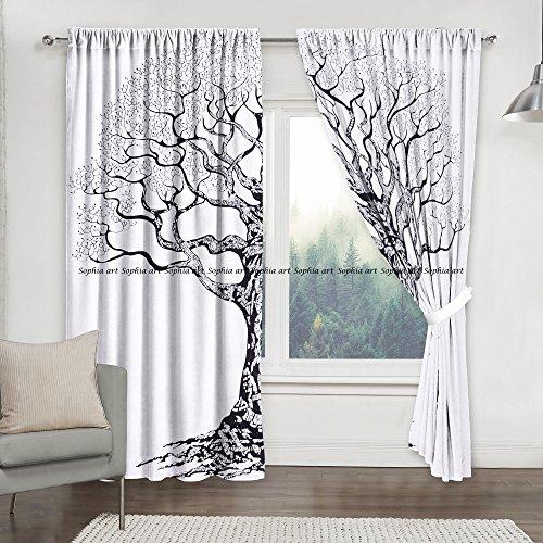 Sophia-Art - Juego de Cortinas para Ventana con diseño de árbol de la Vida