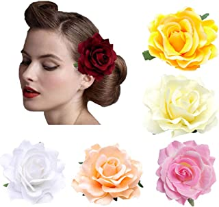 5 Pack Flower Brooch Head Ornament Bride Women Rose Flower Hair Accessories Wedding Hair Clip Flamenco Dancer