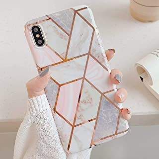 YeLoveHaw iPhone Xs Max Cool Case, Flexible Soft Slim Fit Full-Around Protective Shell Phone Case with Marble Pattern and Glitter Golden Lines for iPhone Xs Max 6.5 Inch (Pink Geometric)