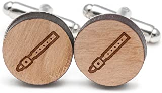 Wooden Accessories Company Recorder Cufflinks, Wood Cufflinks Hand Made in The USA