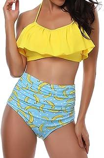 6958bdc6c52 TEERFU Womens Swimwear High Waisted Padded Halter Beach Bathing Suits Bikini  Set