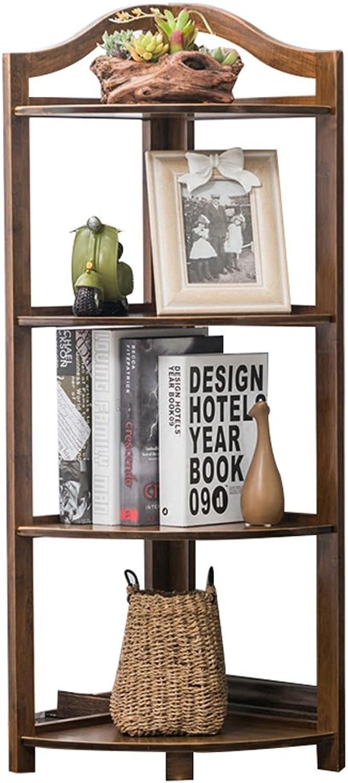 Caoyu Triangle bamboo bookshelf, corner frame corner frame wall flower shelf living room partition shelf Bookcase storage shelf (Size   4 layers)