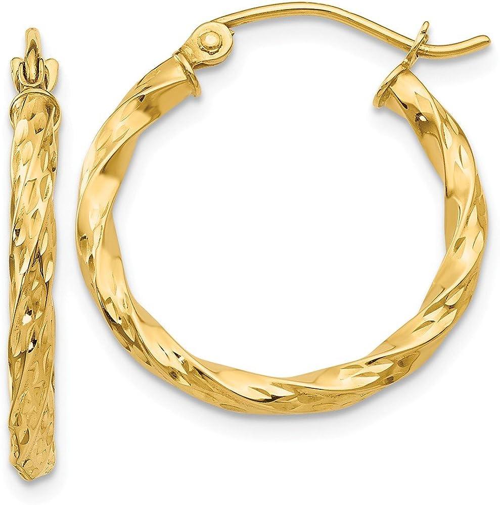 14k Yellow Gold Twist Hoop Earrings Ear Hoops Set Fine Jewelry For Women Gifts For Her