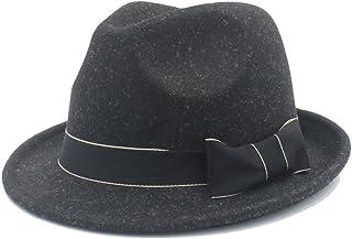 Fashion Sun Hat for Chapeau Femme Fedora Women Men Hat Cap Church Derby Cloche Top Cap with Fashion Leather Suitable for hot Weather Season (Color : Black, Size : 57-58cm)