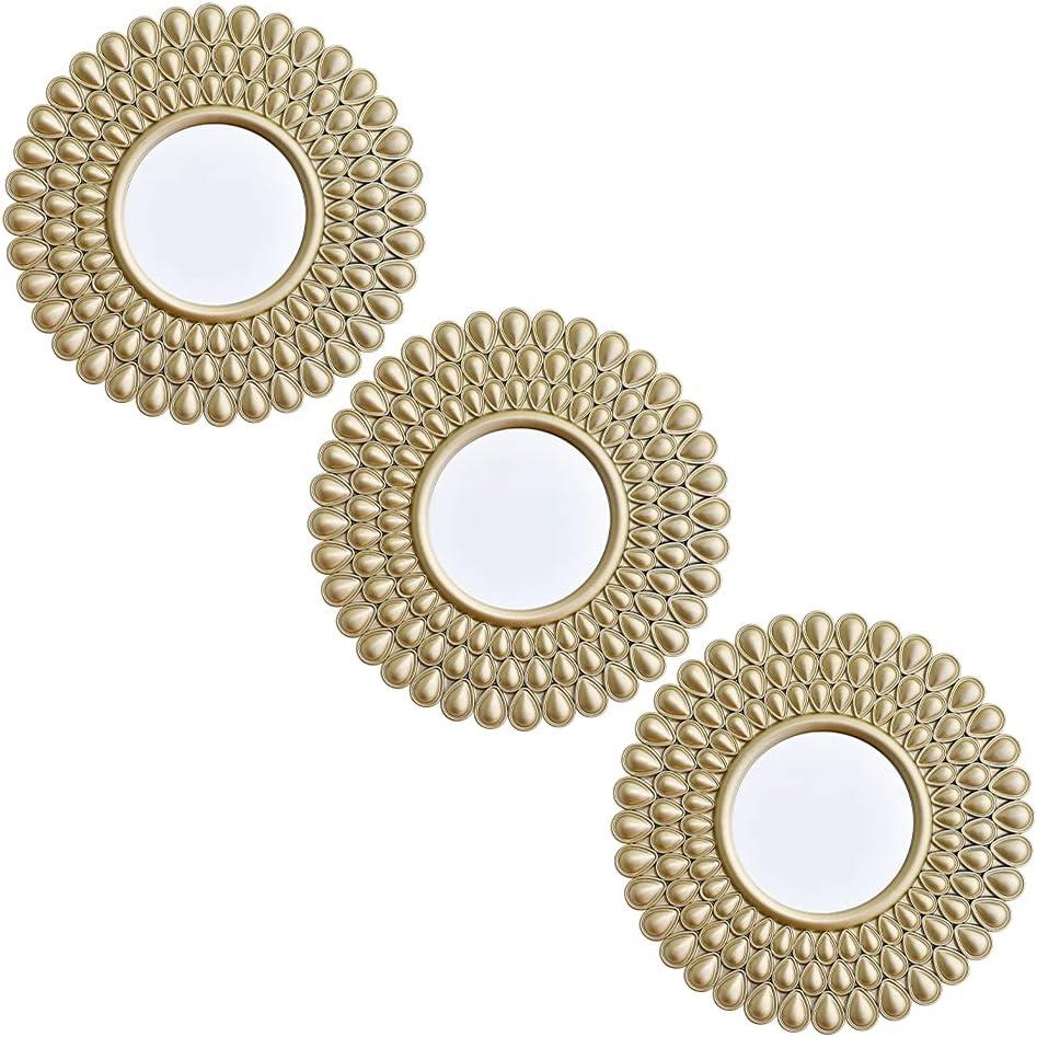 Trio de espejos decorativos para pared dorado