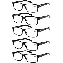 351572352f Reading Glasses 5 Pairs Quality Readers Spring Hinge Glasses for Reading  for Men .