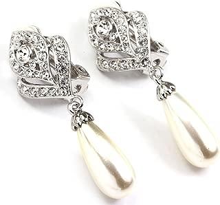 White & Rose Gold Rhinestones Simulated Pearl Dangle Drop Women Girl Flower Bud Clip-on Earring