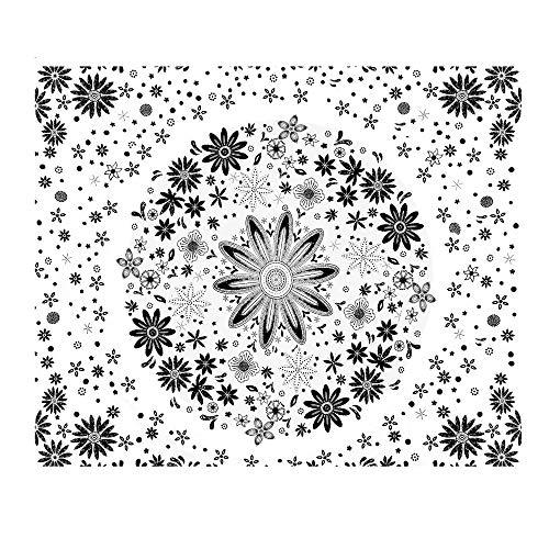 YANGYUAN Tapices colgados de la Pared del Hippie Mandala Beach Tapices Manta del Tiro de la decoración del hogar de la Sala decoración del Dormitorio de Regalo - Fondo Blanco Flor Negro