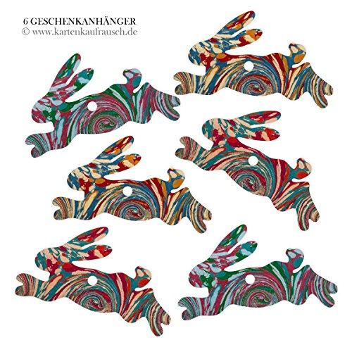 Kartenkaufrausch 6 gemarmerde cadeauhangers gekleurd, slingers hangers, decoratieve hangertjes met kleurrijke marmerpatronen - in haasvorm 11,5 x 7 cm • cadeau-decoratieset voor mooi cadeau. 24 hangers.