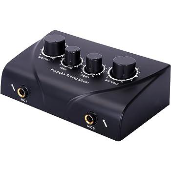 Cahaya マイクミキサー オーディオ 音楽 マイクロホン サウンドミキサー Sound Mixer 2チャンネル 家庭用 カラオケ 音響機器
