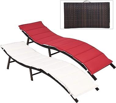 Tangkula 2PCS Folding Patio Lounger Chair, Outdoor Wicker Chaise Lounge, Portable Rattan Lounge Chaise Chair, Sun Lounger Chair with Double-Sided Cushioned Seat for Garden Lawn Backyard
