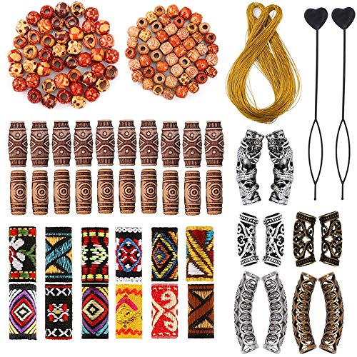 105 Pieces Hair Accessories for Braids, Wood Beads for Braiding Hair, Classic Retro Style Metal Cuffs Tubes, Handmade Fabric Dreadlock Beads Hair Jewelry for Women Braids