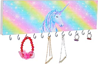 Beinou Wood Jewelry Organizer Wall Mount Rainbow Unicorn Jewelry Holder with 12 pcs Rotatable Hooks Girls Jewelry Storage Hanger for Earrings Necklaces Bracelets