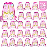 24 Pack Unicorn Drawstring Bag for Gift Bag, Unicorn Party Favor Bags, unicorn party...