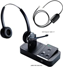 Jabra PRO 9450 Duo Flex Boom Wireless Headset with 14201-17 Polycom HHC Cable SmartCord, Bundle for Polycom Soundpoint IP Phones