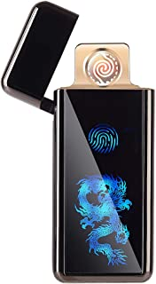 FL5018 USB Electronic Lighter Touchscreen Tungsten Turbo Spiral Windproof Flameless with USB Charging Cable USB Rechargeable(Black Dragon)