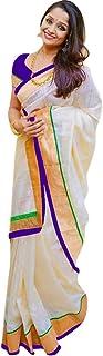 Pramukh Suppliers Women's Chanderi Cotton Saree with Blouse Piece (Z_P; Off-white)