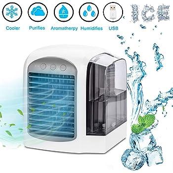 Lyeiaa 4-en-1 Mini Aire Acondicionado Portátil Climatizador Portatil Frio,LED,Air Cooler Silencioso Humidificador Purificador para Hogar, Oficina, Dormitorio, Exterior: Amazon.es: Hogar