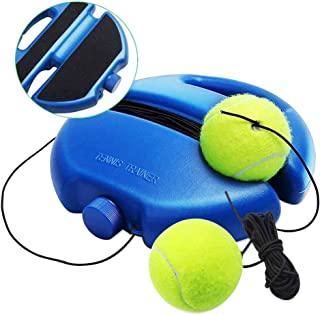 Chriffer Tennis Trainer Rebound Ball for Self Tennis Practice Training Tool, Portable Solo Tennis Baseboard with 2 String Balls & Elastic Ropes for Beginners, Kids, Adults
