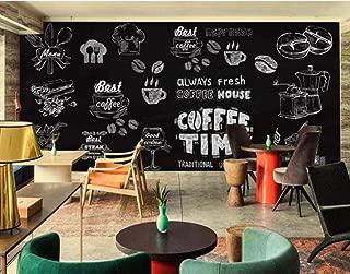 Scmkd Custom Wallpaper European-Style Hand-Painted Black and White Coffee Shop Mural Restaurant Mural Wallpaper for Wall 3 d-350CMX250CM