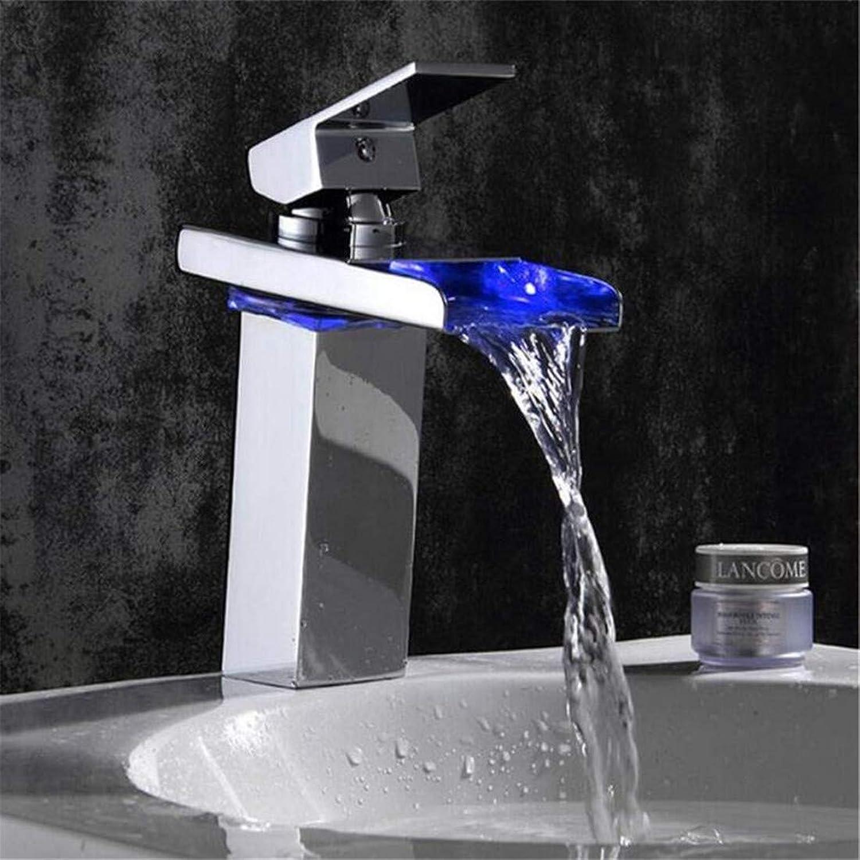 Vintage Brass Hot and Cold Bathroom Kitchen with Led Light Chrome Polished Led Tap Basin Faucet Bathroom Deck Mounted Basin Sink