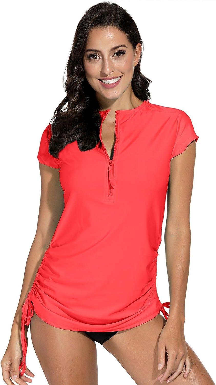 Spadehill Women's UV Sun Protection Short Sleeve Rashguard Half Zipper Rash Guard