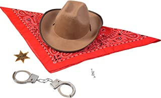Sheriff Costume - Cowboy Hat with Cowboys Accessories - Western Sheriff Set