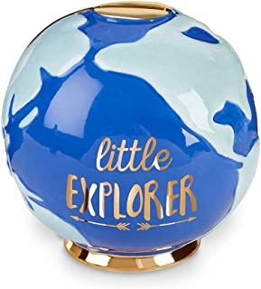 Baby Aspen Little Explorer Globe Porcelain Piggy Bank, Blue, One Size