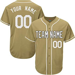Gold Custom Baseball Jersey for Men Women Youth Game Embroidered Team Player Name & Numbers S-5XL White