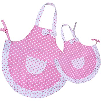 Homgaty Princess Bowknot Kitchen Apron with Pocket Artist Apron & Chef Apro for Women and Kids Baking Cook Painting Party with 2 Layers Cloth Parent-Child Set
