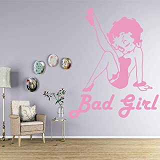 Funny Bad Girl Cartoon Wall Sticker Art Poster para Sala de niños Sala de Estar decoración del hogar Pegatina 45x55cm: Amazon.es: Hogar