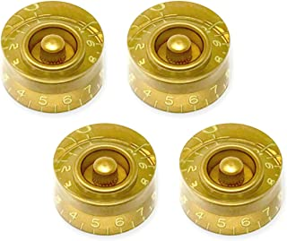 Aged Relic Tint Gold Speed Knobs for Gibson Les Paul SG Electric Guitar (Set of 4) Fits 24 Fine-Spline USA (Imperial) Split Shaft Pots by VINTAGE FORGE SK52US-GLD4