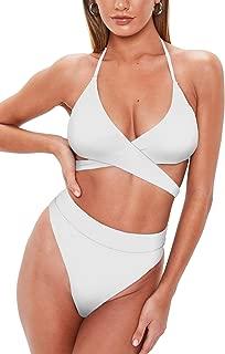 QINSEN Women's Sexy Halter Criss Cross Cutout High Waist 2PCS Bikini Set Swimsuit