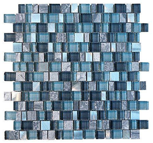 Glossy Blue and Blue Stone Random Brick Cubes Pattern Glass Mosaic Tiles for Bathroom and Kitchen Walls Kitchen Backsplashes