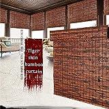 Cortinas opacas enrollables de bambú efecto piel de tigre, cortinas divisorias impermeables y antimoho para interior/exterior, salón de té, cortinas decorativas para balcón