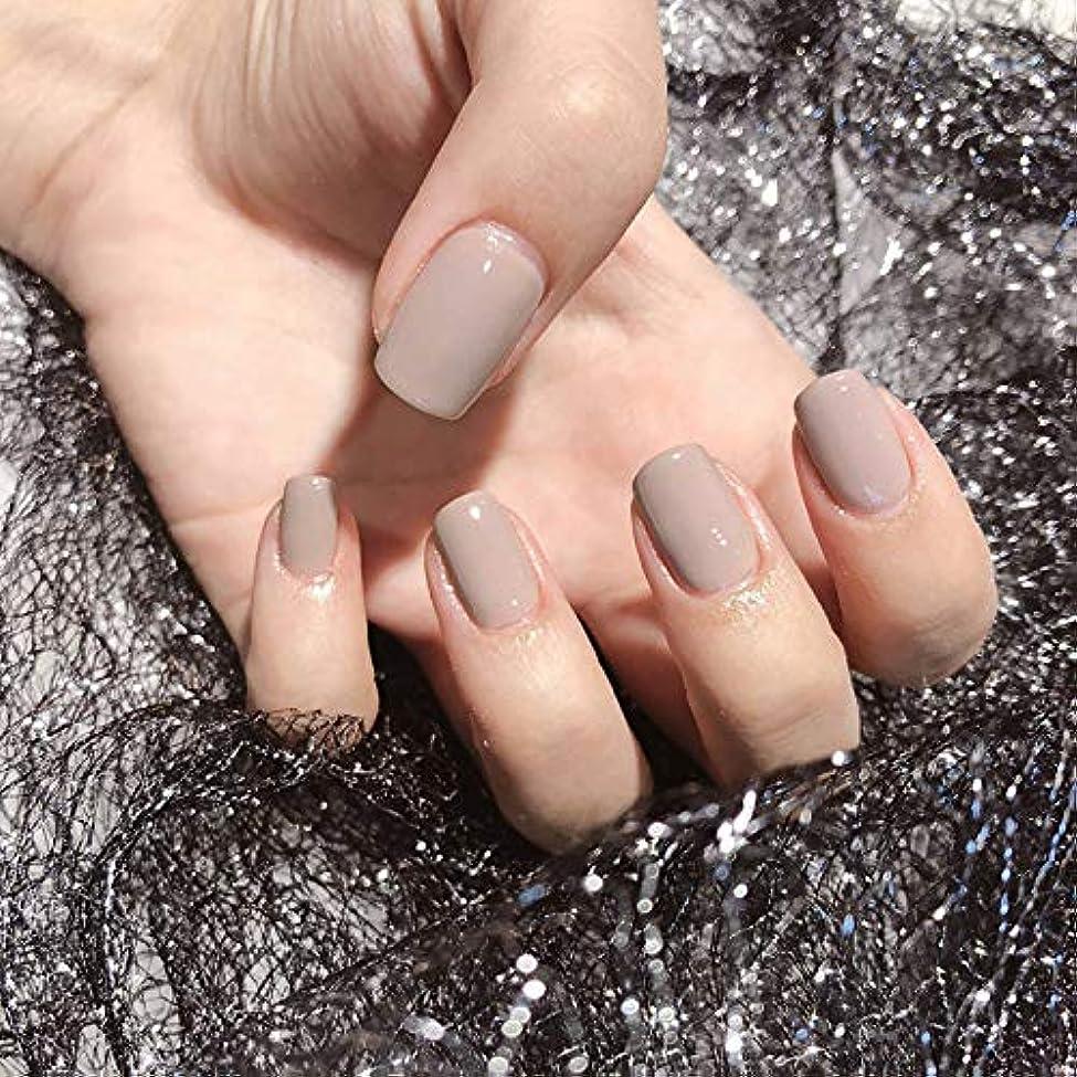 アレルギー性意味する影響オフィスネイルチップ 24枚 ショートつけ爪 シンプルワンカラーレディースカラージェル (カーキ)