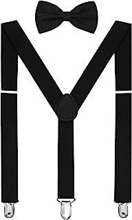 HABIBEE رنگ جامد تعلیق مردانه Y شکل با کلیپ های محکم قابل تنظیم