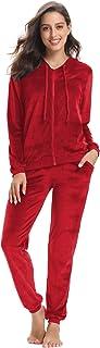 Aibrou Women's Velour Sweatsuit Set Active Casaul Hoodie Pants Tracksuit Set