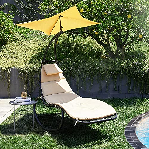 BELLEZE Outdoor Hanging Chaise Lounge Chair Swing Curved...