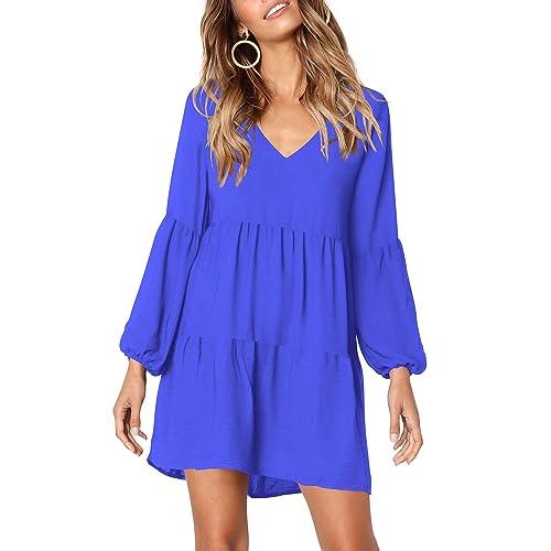 bf67a1f75b2e0 Beluring Womens Long Sleeve Casual V Neck Swing Tunic Dress